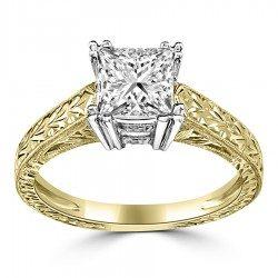 Triple prong princess ring