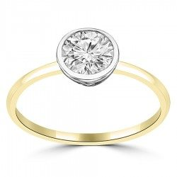 Thin band round bezel ring