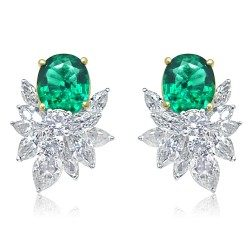 Green cluster earring