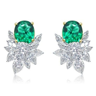 Green cluster earring