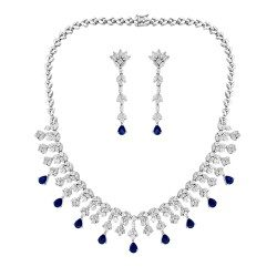 Classic Design Blue Stone Necklace with Earring