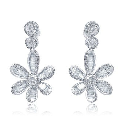 Diamond Flower Danglers