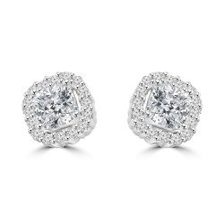 Cushion shape studs with rim of Diamonds