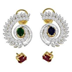Fancy Shape Color Stone Earring