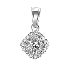 Cushion pendant with rim of diamonds