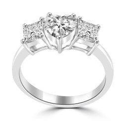 Heart 3 Stone Ring