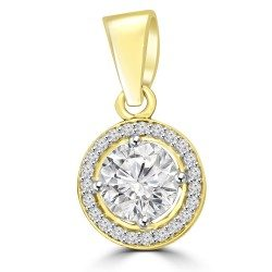 Round Pendant with Rim of Diamonds