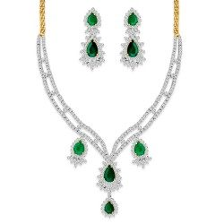 Emerald Bridal Necklace Set with Earring