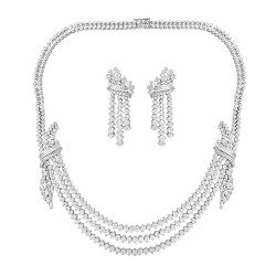 Three line Bridal Necklace Set with Earrinf