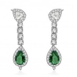 Pear emerald drop earring