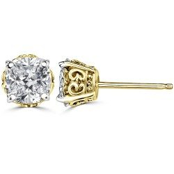 Designer prong cushion ear studs
