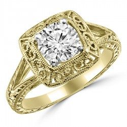 Square filigree ring